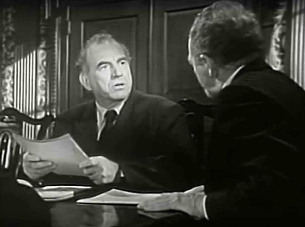 """Bill Briggs (Ed Begley) w trakcie ostatniej, pełnej napięcia konfrontacji z Ramseyem, """"Patterns"""", 1955"""