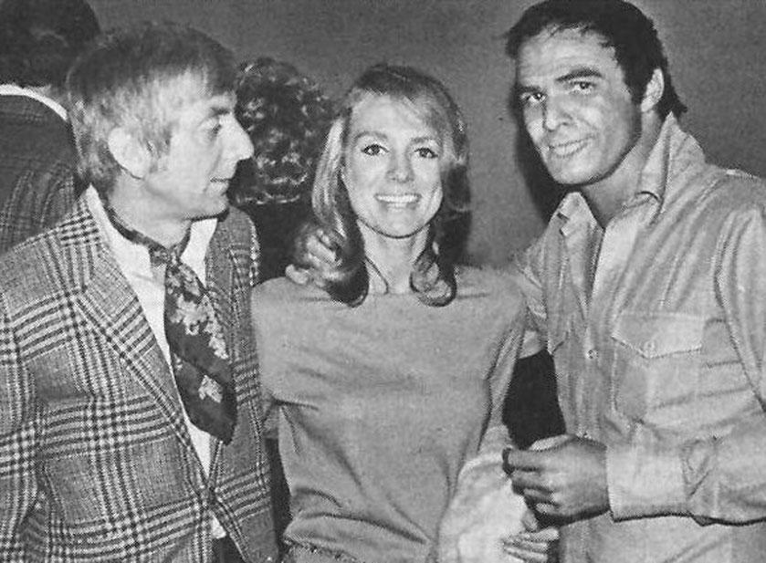 "Aaron Spelling, Ingers Stevens i Burt Reynolds celebrują sukces filmu ""Run, Simon, Run"", 1970."