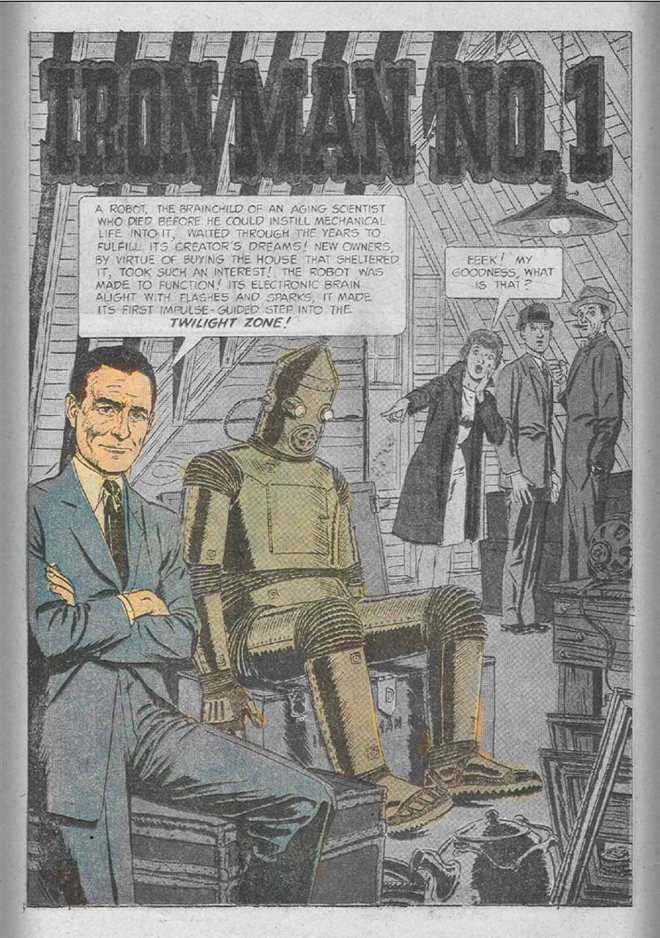 """Iron Man No.1"", Mike Peppe (tusz), Ben Oda (liternictwo)"